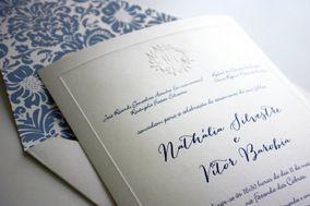 Convite com floral azul
