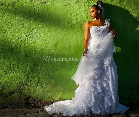 A noiva posando
