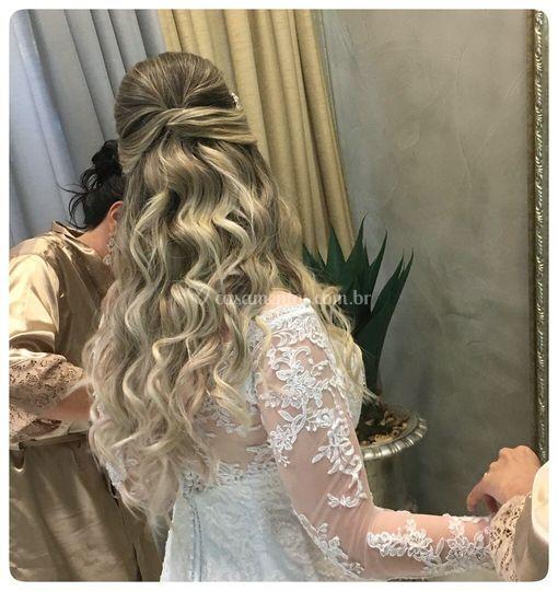 Penteado noiva semi-preso
