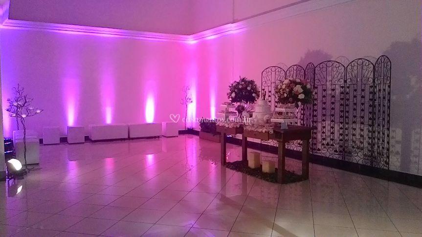 Mesa do bolo e lounge