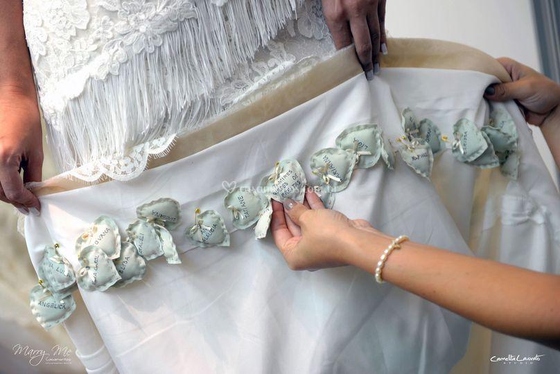 Corações para barra do vestido