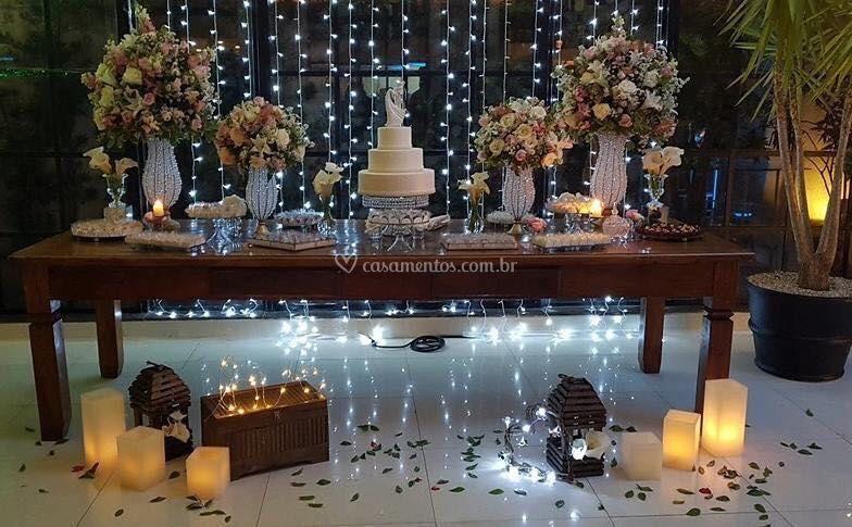 + decoração mesa bolo - Noite