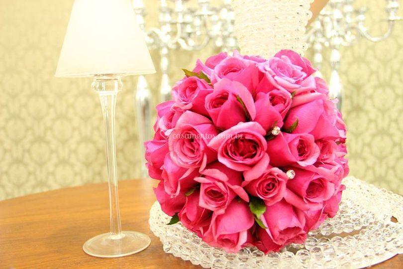 Buquê com rosas pink