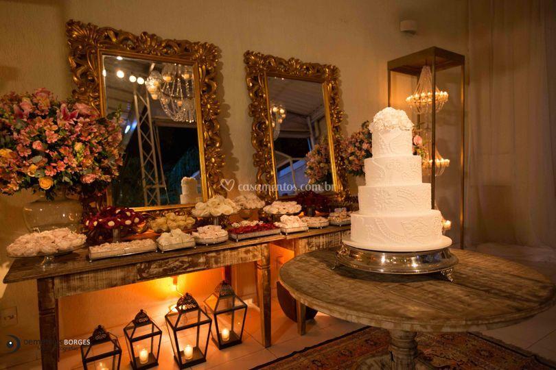 Decoração rústica mesa bolo