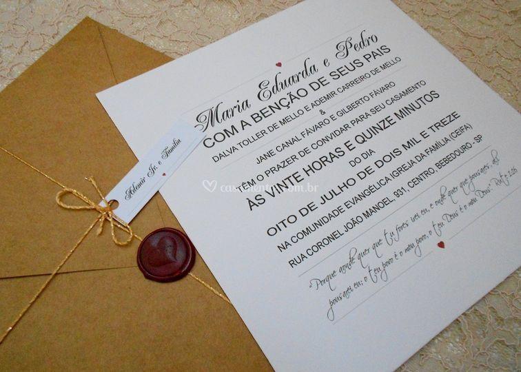 Convite Maria Eduarda e Pedro