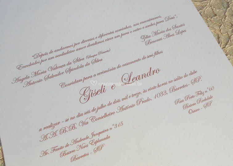 Convite Giseli e Leandro