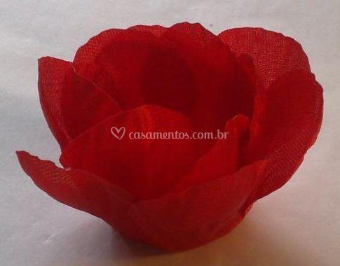 Flores de pano vermelho