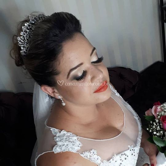 Noiva com cílios 3D