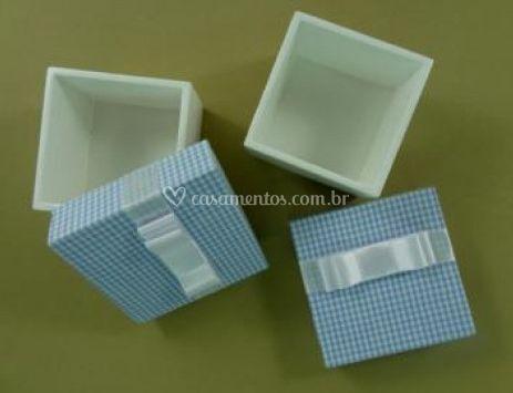 Caixinha de MDF Branco e Azul