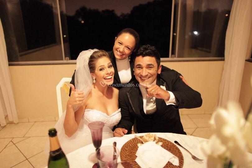 Recepção na suíte dos noivos