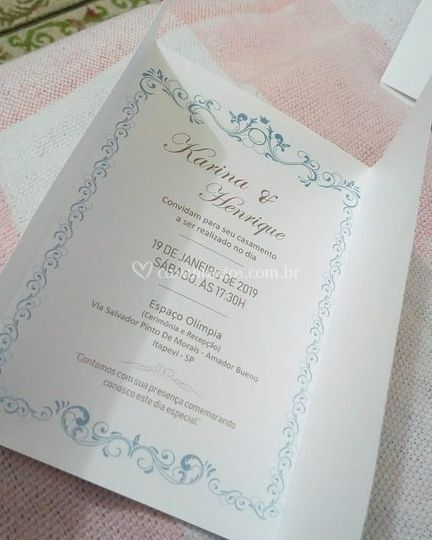 Convite em papel especial
