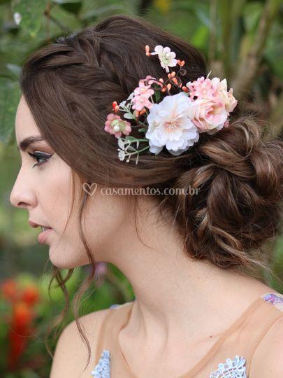 Pente de Cabelo Flores Beleza