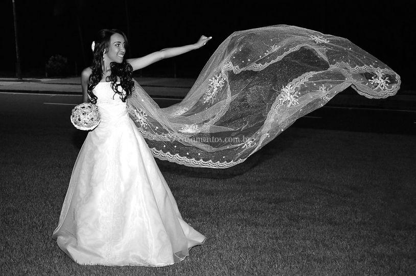 Fotos com o vestido de noiva
