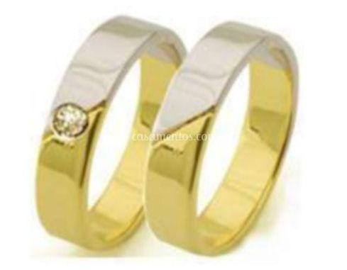 Aliança ouro branco e amarelo