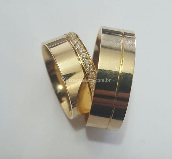 Ouro Amarelo com diamantes