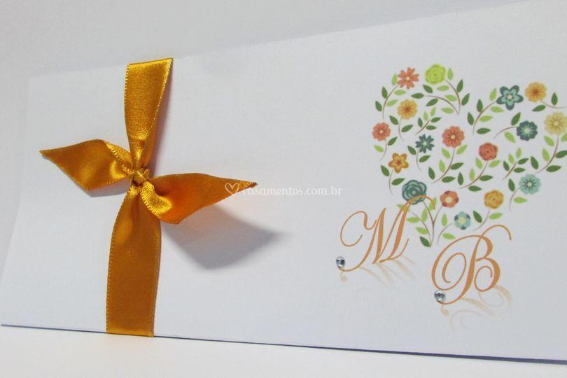 Convite Coração Floral