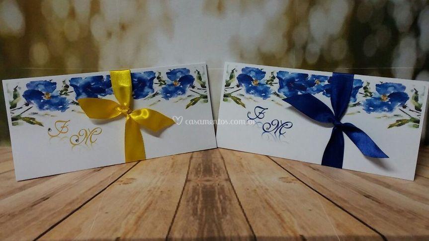Convite Floral Azul Royal