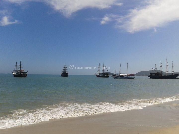 Barcos que fazem os passeios na baía