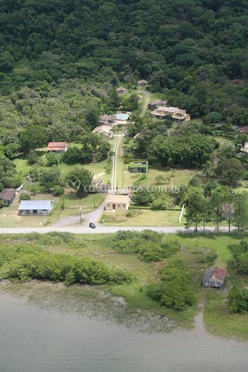 Foto aérea da pousada
