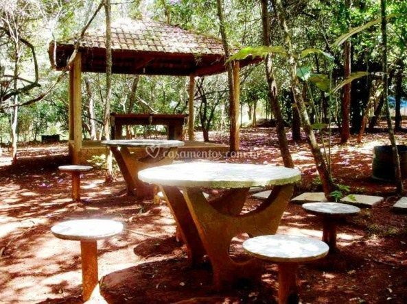 Mesas em área externa
