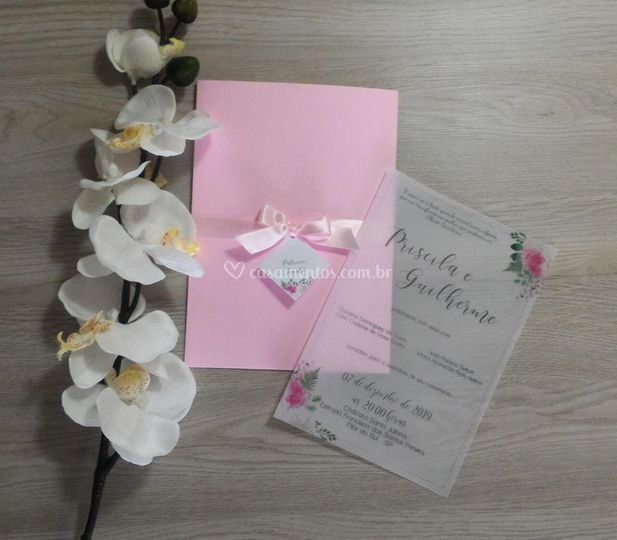 Convite em papel vegetal