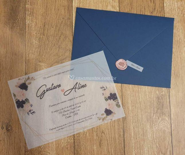 Convite envelope e vegetal