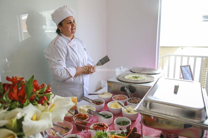 Buffet de crepe com chef