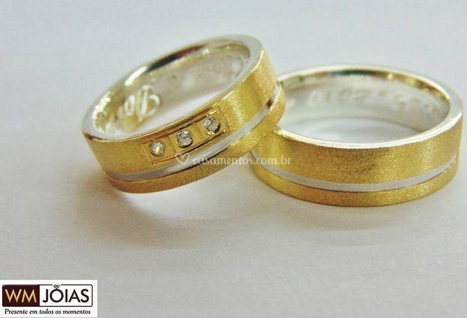 Aliança prata e ouro