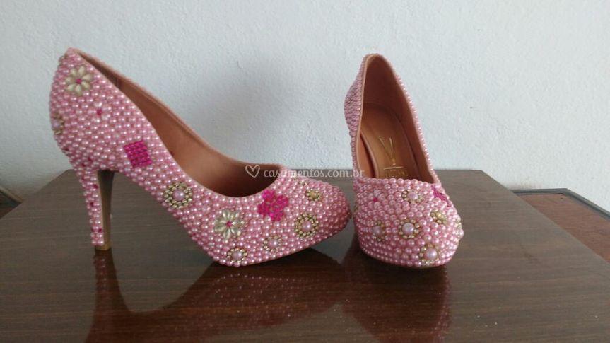 bdbb7a31105 Sapato pérolas e strass rosa de Michele Sapatos de Luxo