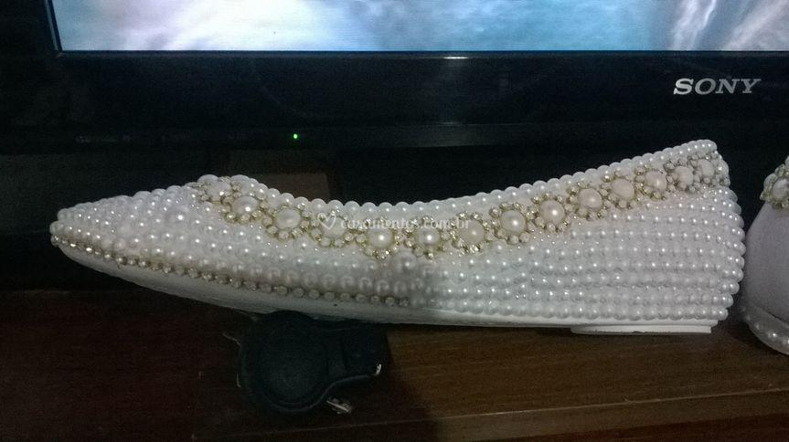 7b066216a40 Sapatilha pérolas e strass de Michele Sapatos de Luxo