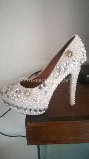 71f690e5ab8 Sapato luxo pérolas e strass 2 de Michele Sapatos de Luxo