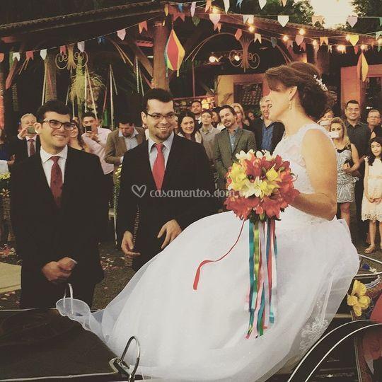 A noiva chegou de charrete