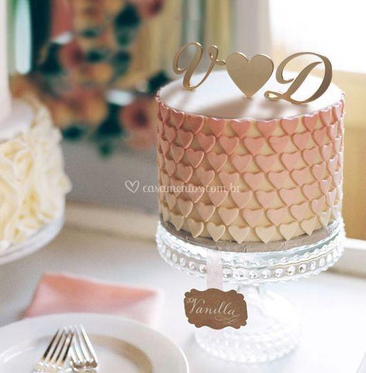 Topo de bolo iniciais