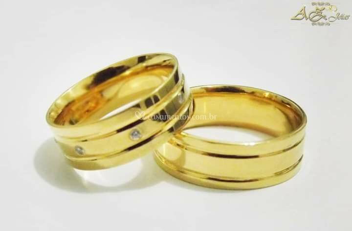 Par de alianças em ouro 18k