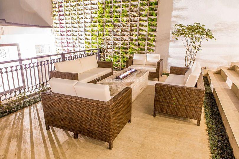 Lounge com lareira