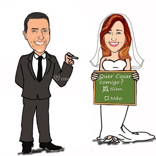 Caricatura casamento noivos