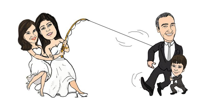 Caricatura noivos com filho