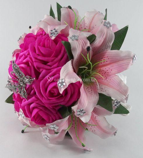 Buquê de rosas pink com lírios