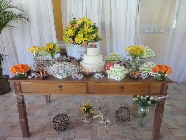 Mesa de bolo rustica