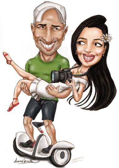 Caricatura de noivinhos