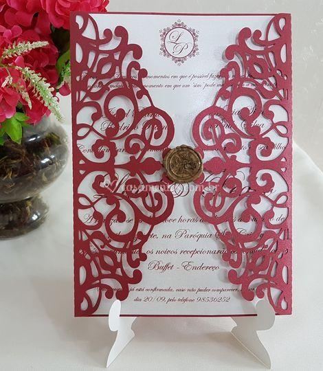 Convite de Casamento Vazado
