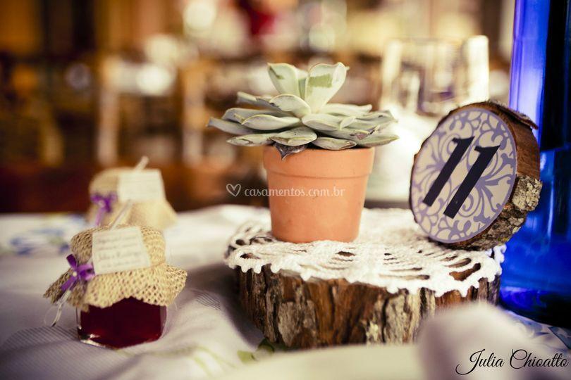 Centro de mesa madeira croche