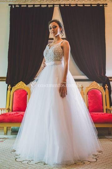 Vestido em A modelo princesa