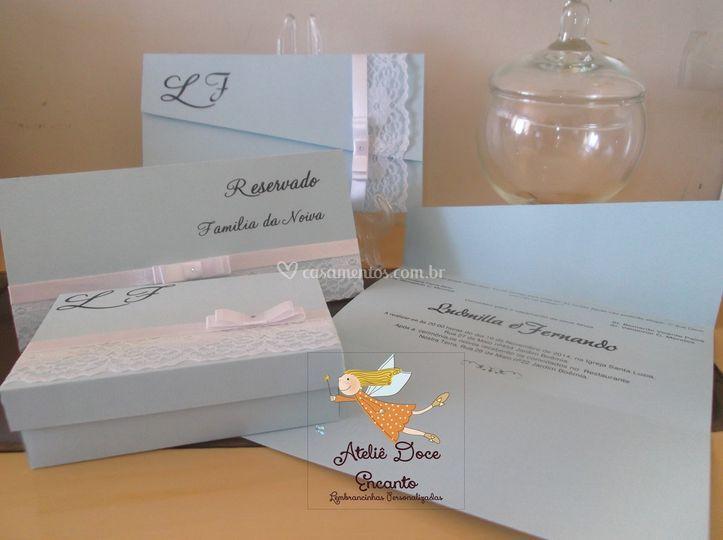 Convite, reservado e caixa