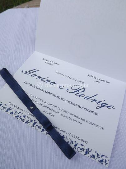 Convite casamento azul