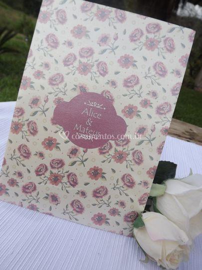 Convite perolado floral
