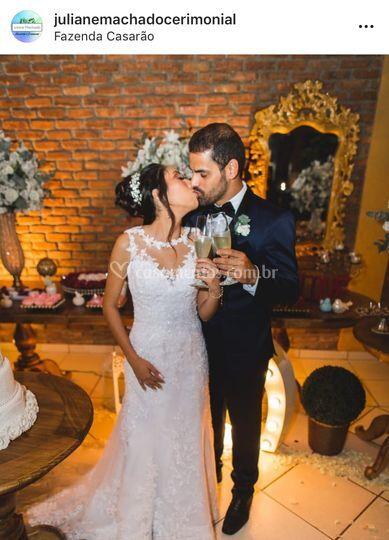 Os noivos Larissa e Beto