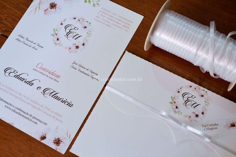 Convite de Casamento Romântico