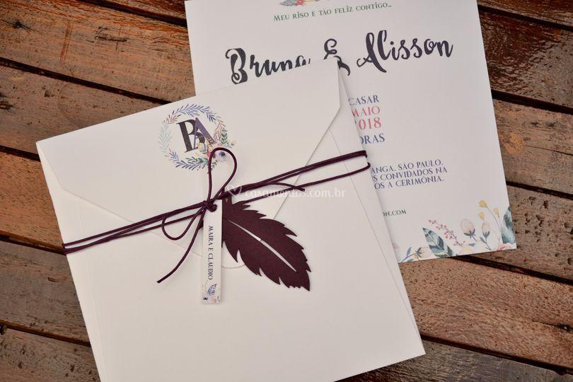 Convite de Casamento Boho