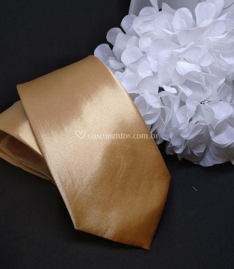 Gravata Semi Slim Dourada